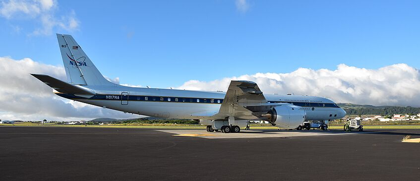 The DC-8 on Terceira, Azores. Our CAPS instrument is mounted at the right wing tip.