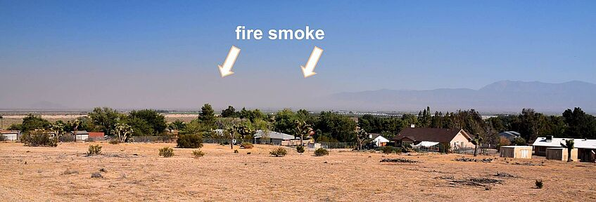 Smoke from wildfires over Palmdale